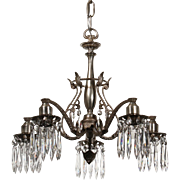 Stunning Antique Silver Plated Chandelier with Original Crystal Prisms