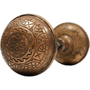 "Lovely Antique Cast Bronze ""Windsor"" Door Knob Sets by Reading Hardware, Aesthetic M"