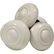 Unusual Antique White Porcelain Doorknob Sets, Late 19th Century