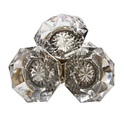 Dazzling Antique Wheel-Cut Crystal Door Knob Sets, Early 1900s
