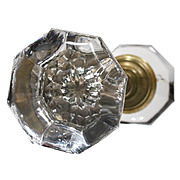 Unusual Antique Glass Door Knob Sets with Stars, Early 1900s