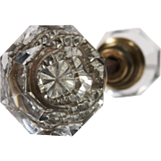 Petite Antique Faceted Crystal Door Knob Sets, Early 1900s