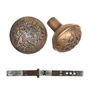 "Beautiful Antique Cast Bronze Barrows ""Baltic"" Entrance Doorknob Set, c. 1900"