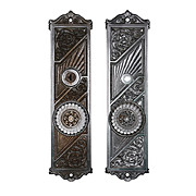Extraordinary Antique Art Nouveau Exterior Door Hardware Set, Branford Lock Co.