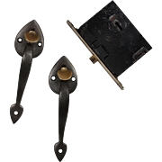 Antique Cast Bronze Lock Sets with Thumb Latches, c.1910