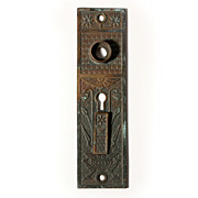 Antique Cast Bronze Eastlake Entry Doorplate with Double Keyholes and Swinging Cover