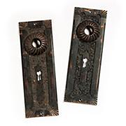 """Rare Antique Corbin """"Empire"""" Figural Doorplates, Cast Bronze, 1889 -- TWO AVAILABLE"""