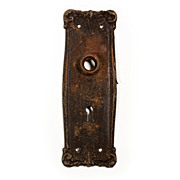 Wide Antique Neoclassical Door Backplates with Leaf Design, c. 1905