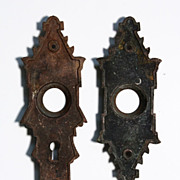 Magnificent Pair of Antique Cast Bronze Door Plates, c. 1880's
