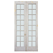 Pair of Reclaimed Divided Light French Doors with Beveled Glass