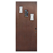 """Salvaged 36"""" Plank Door with Rare Stained Glass Speakeasy"""