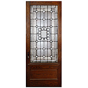 Gorgeous Salvaged Oak Door with Beveled & Leaded Glass, Early 1900's