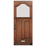 "Reclaimed Antique 36"" Door with Scalloped Glass and Dentil Molding"