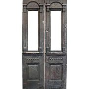 "Delightful Salvaged 42"" Eastlake Door Pair with Carving, c.1880"