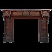 Amazing Antique Walnut Fireplace Mantel, Late 19th Century