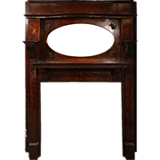 Beautiful Antique Quarter Sawn Oak Fireplace Mantel with Beveled Oval Mirror