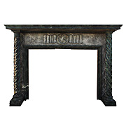 Substantial Antique Oak Figural Fireplace Mantel with Lion, Early 1900's