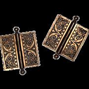 """Delightful Pair of Antique Cast Iron 4 ½"""" Hinges with Original Bronze Wash, 19th Century"""