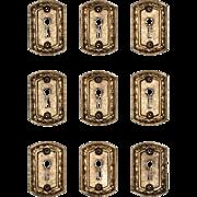 Antique Cast Brass Keyhole Escutcheons by Sargent