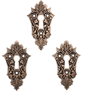 Beautiful Antique Cast Bronze Eastlake Keyhole Escutcheon, 1880's