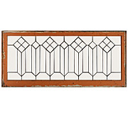 Geometric Antique American Leaded Glass Transom, Beveled Glass