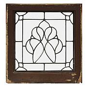 Splendid Antique American Beveled and Leaded Glass Window, Stylized Flower