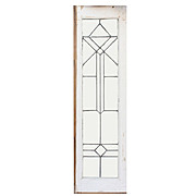 Antique American Leaded Glass Window, Geometric Detail