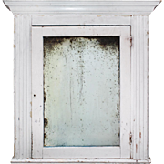 Large Salvaged Bathroom Medicine Cabinet with Aged Mirror