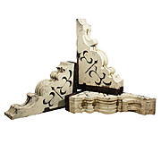 Superb Pair of Antique Wood Corbels with Crackled Paint