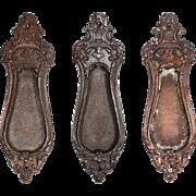 "Antique Cast Iron ""Malden"" Pocket Door Plates, Signed Reading Hardware, 1910"