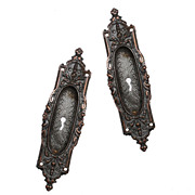 Gorgeous Antique Cast Bronze Pocket Door Plates -- TWO PAIRS AVAILABLE
