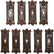 """Salvaged Cast Iron """"Chatham"""" Pocket Door Plates, Russel and Erwin, 1909"""