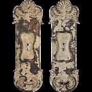 Antique Pair of Neoclassical Cast Iron Pocket Door Plates