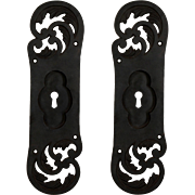 Antique Pair of Cast Iron Pocket Door Plates