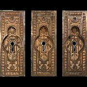 Delightful Antique Eastlake Cast Bronze Pocket Door Plates, Late 19th Century
