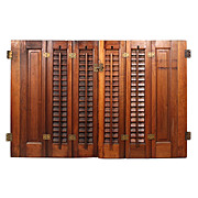 Charming Antique Interior Wood Shutters, Early 1900's