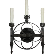 Handsome Antique Gothic Revival Three-Light Sconce
