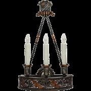 Handsome Antique Spanish Revival Three-Light Sconce