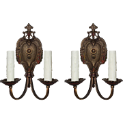 Splendid Pair of Antique Neoclassical Double-Arm Sconces by Markel