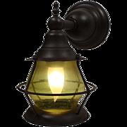 Amazing Antique Exterior Wall-Mount Lantern, Original Glass