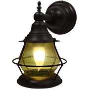 Amazing Antique Exterior Wall-Mount Lantern, Original Glass