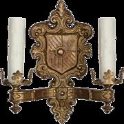 Marvelous Antique Spanish Revival Double-Arm Sconce
