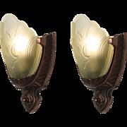 Striking Pair of Antique Art Deco Slip Shade Sconces with Fleur-De-Lis