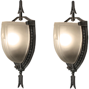 Striking Pair of Antique Art Deco Slip Shade Sconces with Arrows