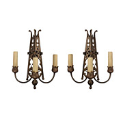 Pair of Magnificent Antique Three Arm Sconces, Brass and Bronze, Late 1800s