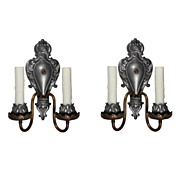 Superb Pair of Antique Neoclassical Double-Arm Sconces, Pewter and Brass