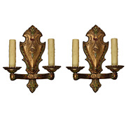 SOLD Delightful Pair of Antique Sconces, Original Polychrome Finish