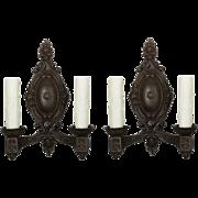 Fabulous Pair of Antique Neoclassical Cast Iron Sconces