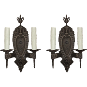Stunning Pair of Antique Neoclassical Cast Iron Sconces, Lowry Electric Co.