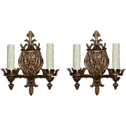Striking Antique Figural Sconce Pair with Ships